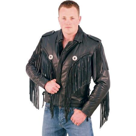 Icon Leather Motorcycle Jacket (Beltless Fringed Leather Motorcycle Jacket #M400FB)