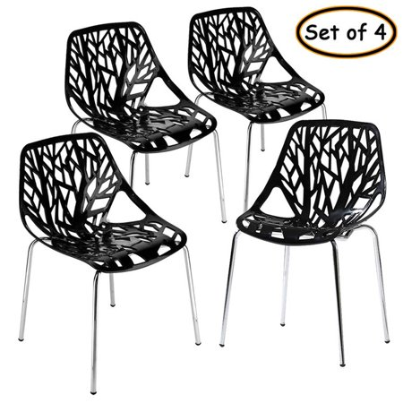 4 Pcs Kitchen Dining Chairs With Mid Century Modern Style Plastic Side Chair Armless Living Room And Bedroom Chairs