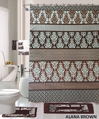 18 Piece Bath Rug Set Coffee Brown Teal Blue print bathroom rugs