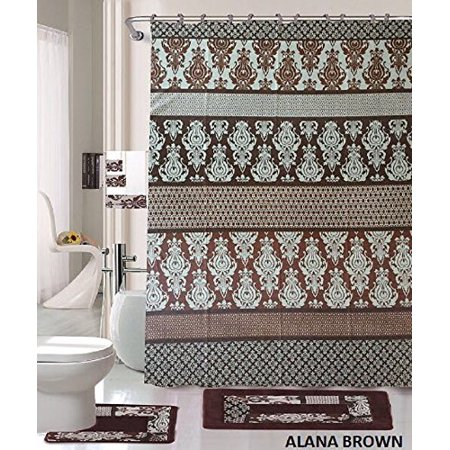 18 Piece Bath Rug Set Coffee Brown Teal Blue Print Bathroom Rugs