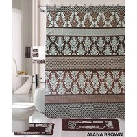 Product Image 18 Piece Bath Rug Set Coffee Brown Teal Blue Print Bathroom Rugs Shower Curtain Rings