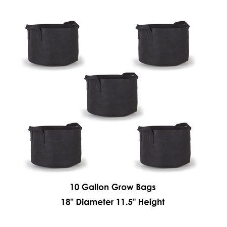Hydroplanet™ 10 Gallon with Handles, 5 Pack, Outdoor Black Container Gardening Planter Pot for