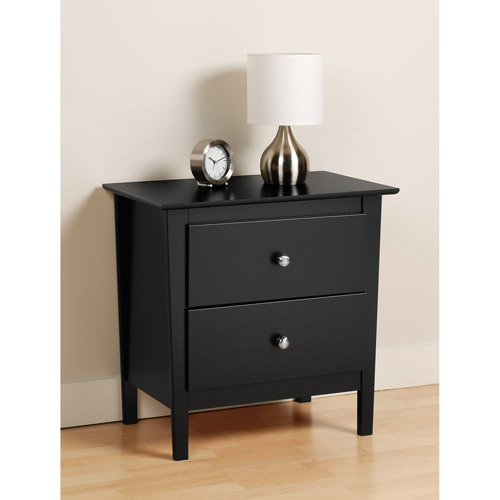 Brisbane 2-Drawer Nightstand, Black - Prepac Furniture