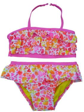 Joe Boxer Toddler Girls Pink Heart Swimming Suit Swim 2 Piece Bathing Suit
