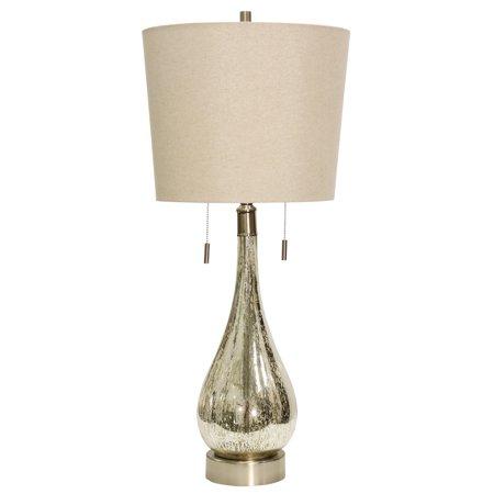 Fulda Table Lamp - Mercury Finish - Beige Hardback Fabric Shade