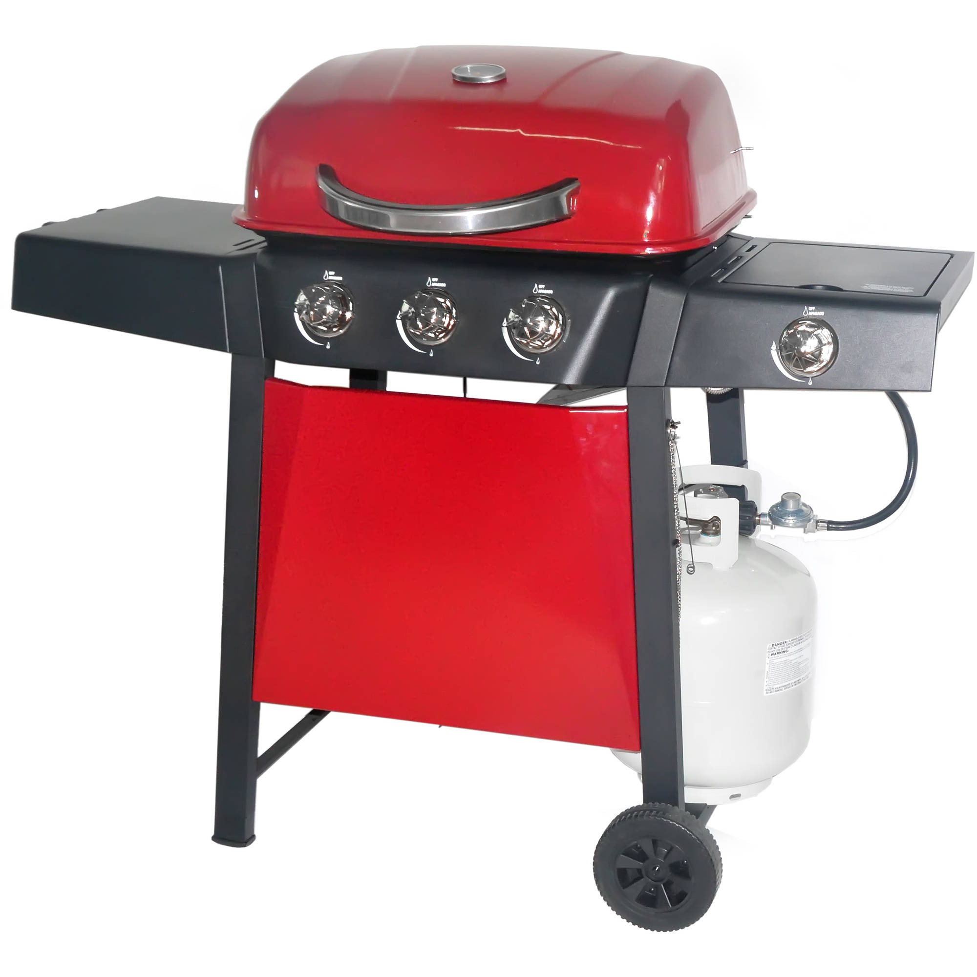 RevoAce 3-Burner LP Gas Grill with Side Burner, Red Sedona