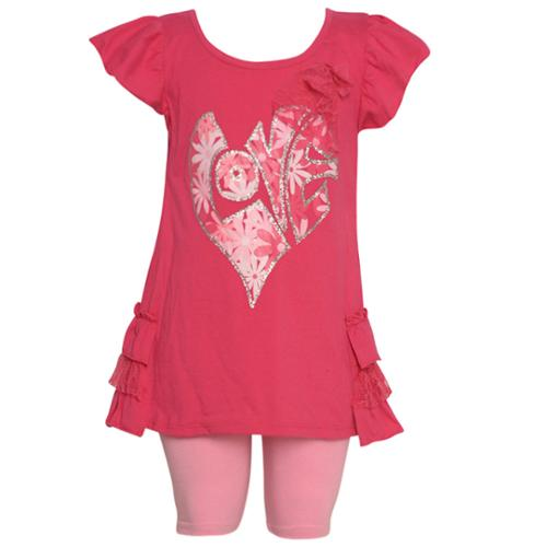 Ziggles Wiggles Little Girls Fuchsia Sparkle Heart Lace 2 Pc Legging Set 2-4T