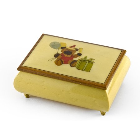 Festive 18 Note Handcrafted Beige Happy Birthday Bear Music Box - Anchors Aweigh ()