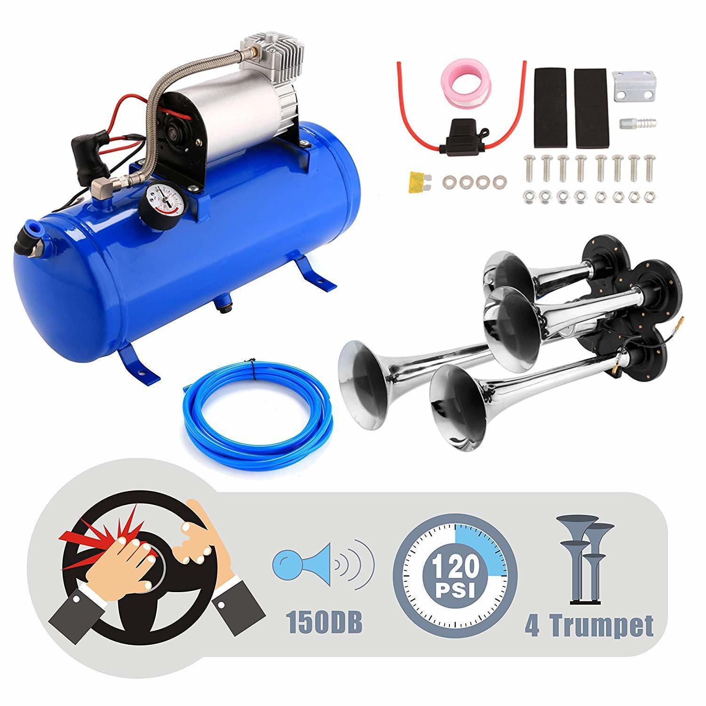 3-Trumpet Train Air Compressor Air Horn Kit Air System 150 PSI With 12V 150dB