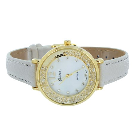 White Leather Band Geneva Watch Gold Dial Simlated Diamonds Analog Display Brand New On Sale