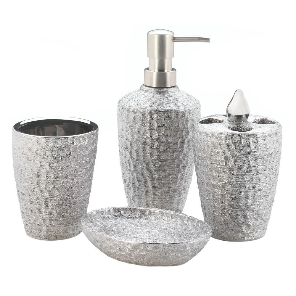 Click here to buy Bath Accessories, Silver Texture Women Men Bath Accessories Set, Porcelain by Accent Plus.