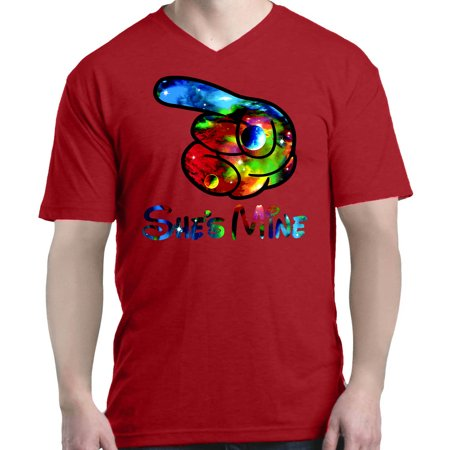 Shop4Ever Men's She's Mine Galaxy Cartoon Hands Couples V-Neck T-Shirt Shirts](Cartoon Couples)