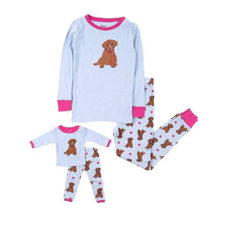 Leveret Kids & Toddler Pajamas Matching Doll & Girls Pajamas 100% Cotton Pjs Set (Puppy Dog, Size 3 Toddler) - Mother Daughter Matching Pjs