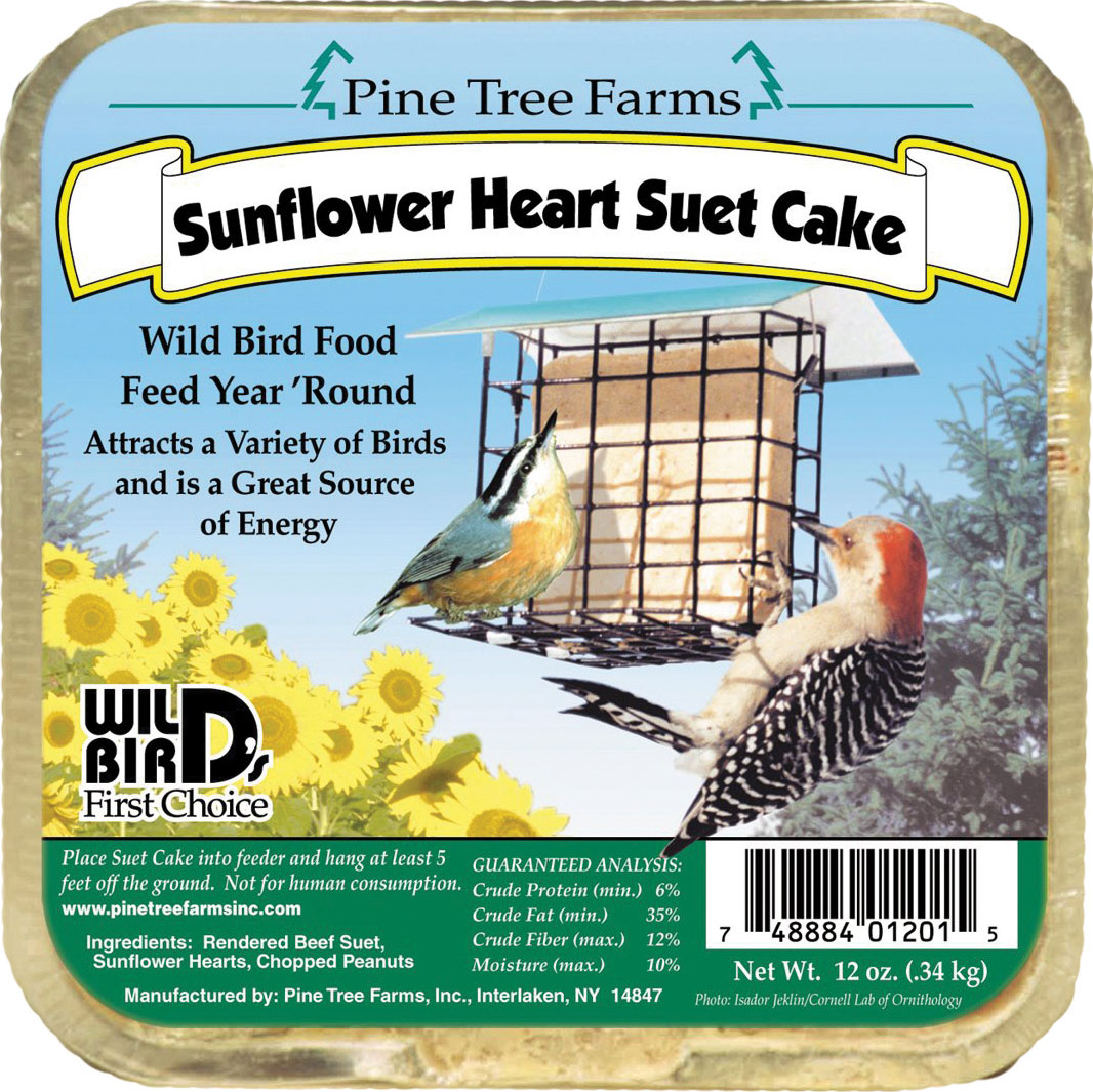 Pine Tree Farms Inc-Suet Cake- Sunflower Heart 12 Ounce