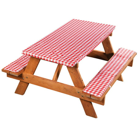 Tremendous Deluxe Picnic Table Cover With Cushions 3 Piece Set Red Gingham Onthecornerstone Fun Painted Chair Ideas Images Onthecornerstoneorg