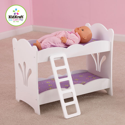 KidKraft Lil' Doll Wooden Bunk Bed, White