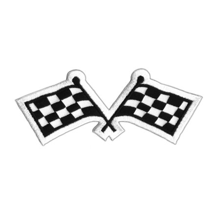 4 Inch Checkered Racing Flag Patch Auto Car Starting Finish Iron On Applique