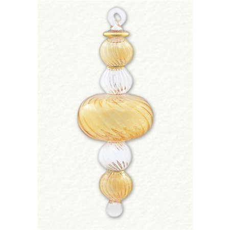 Yellow and Clear 5 Sphere Egyptian Blown Glass Christmas Ornament Made in Egypt - Make Christmas Ornaments