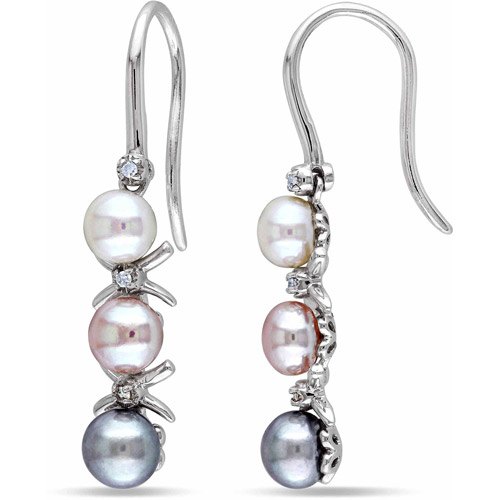 Freshwater Multi-Color Pearl with Diamond Accent Sterling Silver Drop Earrings