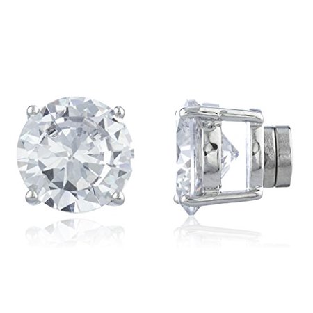 New & Improved! Silvertone with Clear Cz Round Magnetic Stud Earrings - 4mm to 12mm Available (11 Millimeters) ()