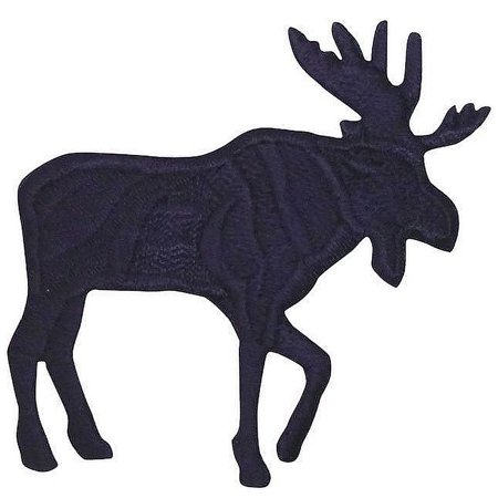 Large - Moose Silhouette - Black - Facing Right - Iron On Embroidered -