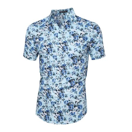 Fleur Button Front Shirt - Men's Short Sleeves Button Front Flower Print Shirt Light Blue (Size XL / 46)
