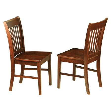 East West Furniture Norfolk Dining Chair with Wooden Seat - Set of 2 ()