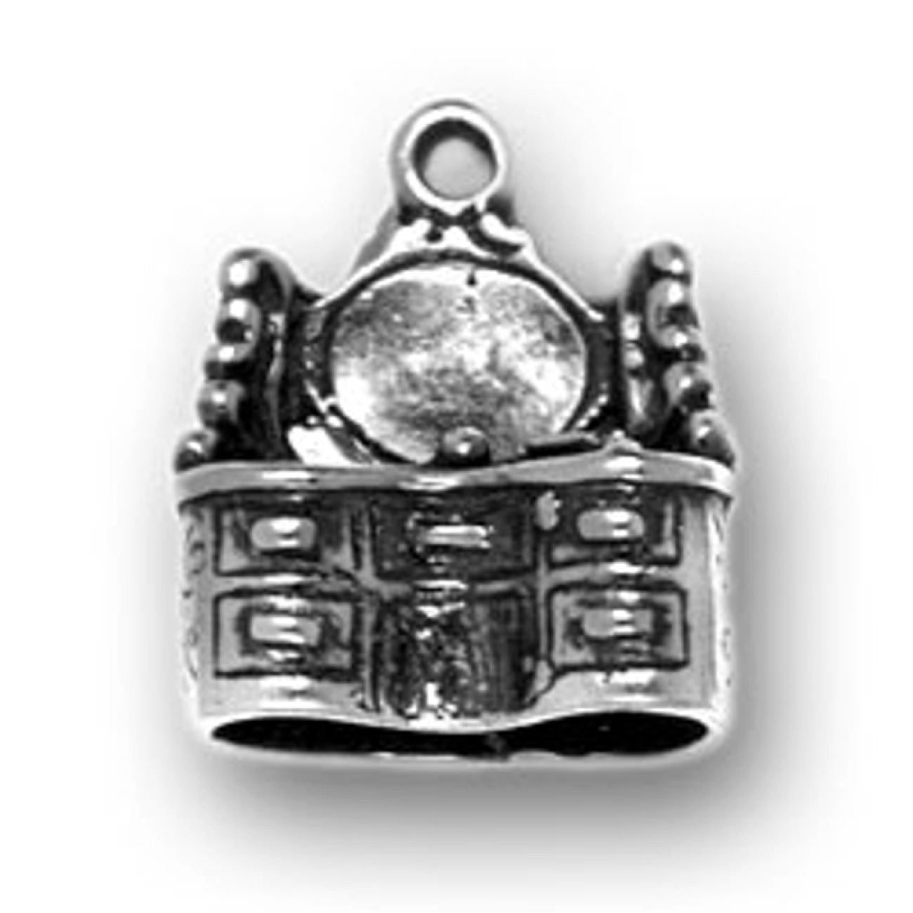 Sterling Silver Girls .8mm Box Chain Small Kings Crown Pendant Necklace