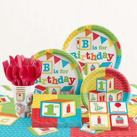 - ABC Blocks 1st Birthday Party Supplies Kit