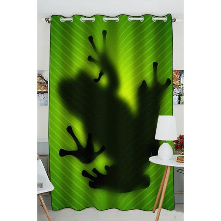 GCKG Frog Shadow Silhouette on the Banana Tree Leaf Window Curtain Kitchen Curtain Window Drapes Panel for Living Room Bedroom Size 52(W) x 84(H) inches (One Piece)