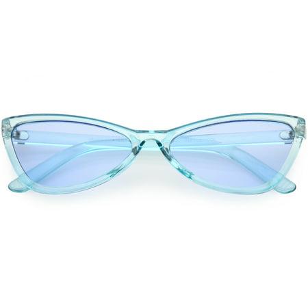 Translucent Retro Cat Eye Sunglasses Slim Arms Color Tinted Lens 57mm (Blue) ()