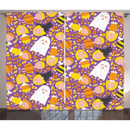 Ghost Curtains 2 Panels Set, Cheerful Kids in Different Halloween Costumes Happy Fun Party Trick or Treat Night, Window Drapes for Living Room Bedroom, 108W X 84L Inches, Multicolor, by Ambesonne