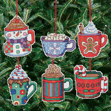 Cocoa Mug Ornaments Counted Cross Stitch Kit, 3-1/2