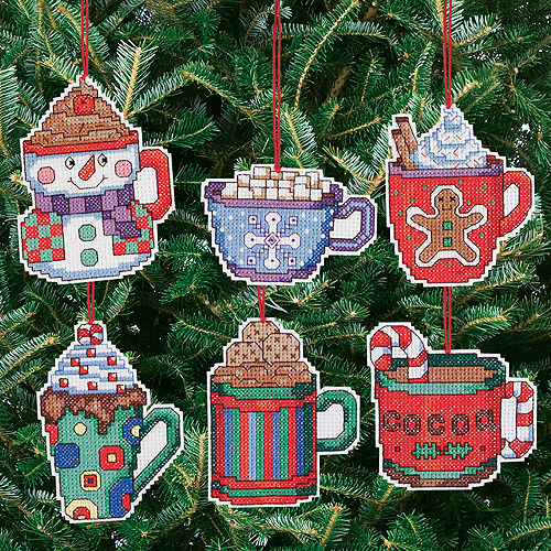 "Cocoa Mug Ornaments Counted Cross Stitch Kit, 3-1/2"" x 3-1/2"", 14-count Set Of 6"