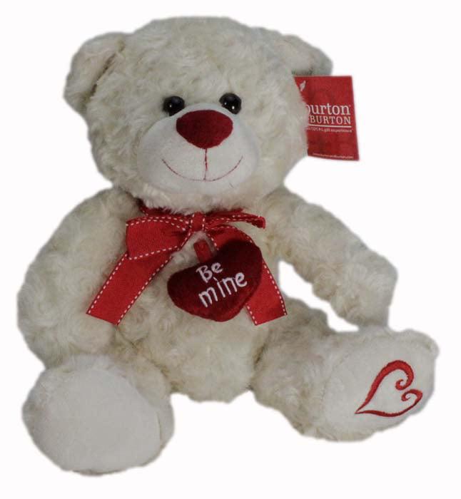 "10"" Plush White Be Mine Teddy Bear with Heart on Foot by Burton   Burton"