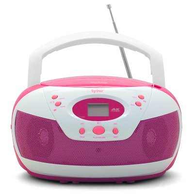 Tyler Portable Neon Pink Stereo Cd Player With Am Fm Radio And Aux   Headphone Jack Link In  Tau105 Npk