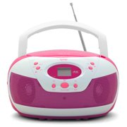 Tyler Portable Neon Pink Stereo CD Player with AM/FM Radio and Aux & Headphone Jack Link-In (TAU105-NPK)