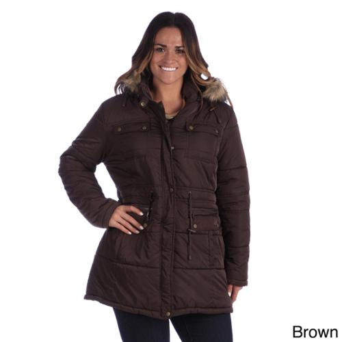 Excelled Women's Plus Size Hooded Puffer Coat Graphite-1X