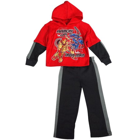 Fishman & Tobin - Little Toddler Boys Long Sleeve Superhero Jog Set suit - Choose Angry Birds Iron Man Avengers Cars Spiderman Jake Mutant Turtles - FREE SHIPPING (Super Hero Outfit)
