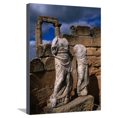Statues of the Two Goddesses Demeter and Persephone, Cyrene, Darnah, Libya Stretched Canvas Print Wall Art By Doug (Demeter And Persephone By Anne Terry White)