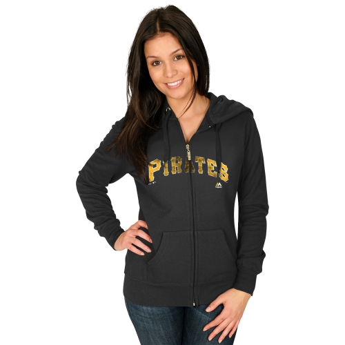Pittsburgh Pirates Majestic Women's Wordmark Full Zip Hoodie - Black