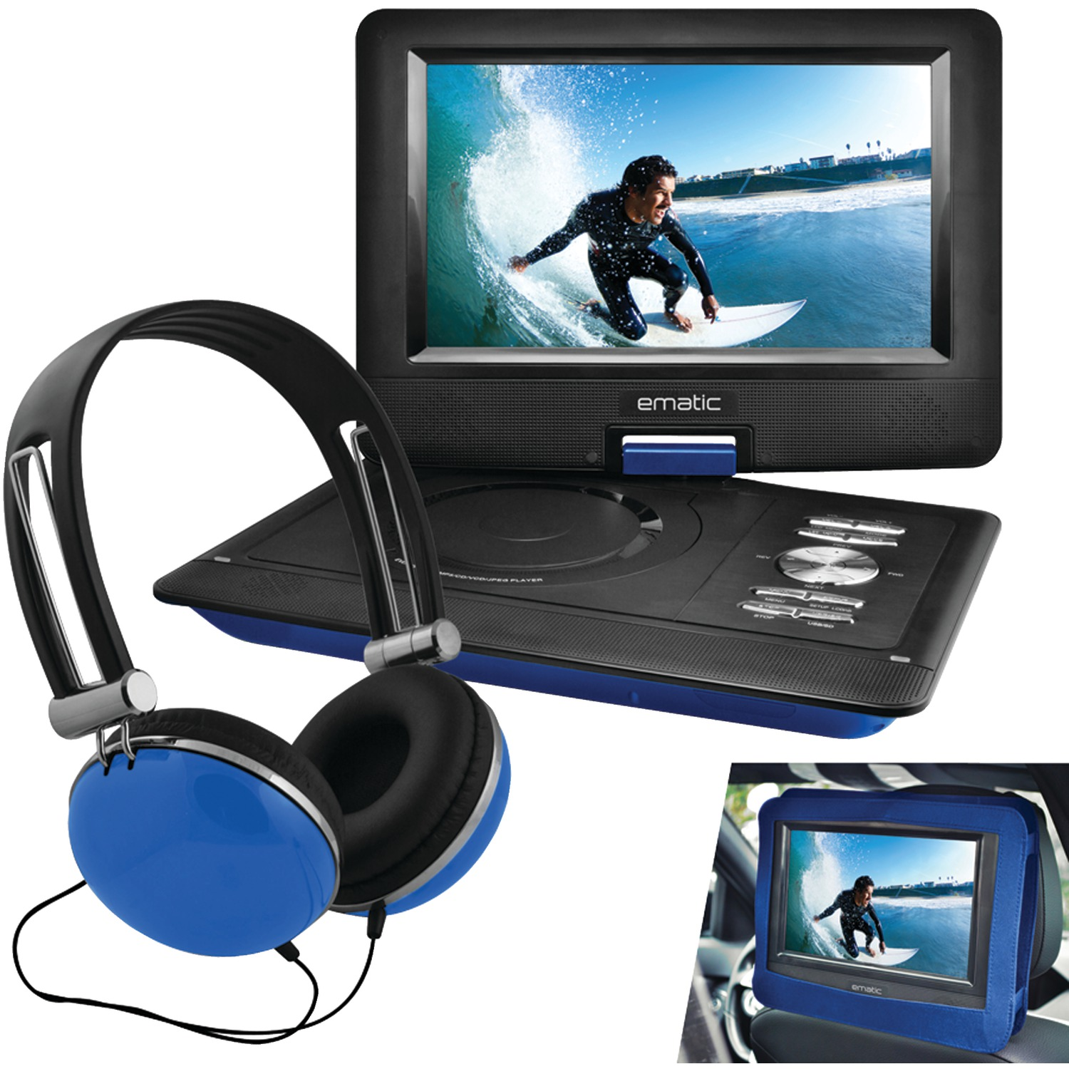 "Ematic EPD116BU 10"" Portable DVD Player with Headphones & Car-Headrest Mount - Blue"