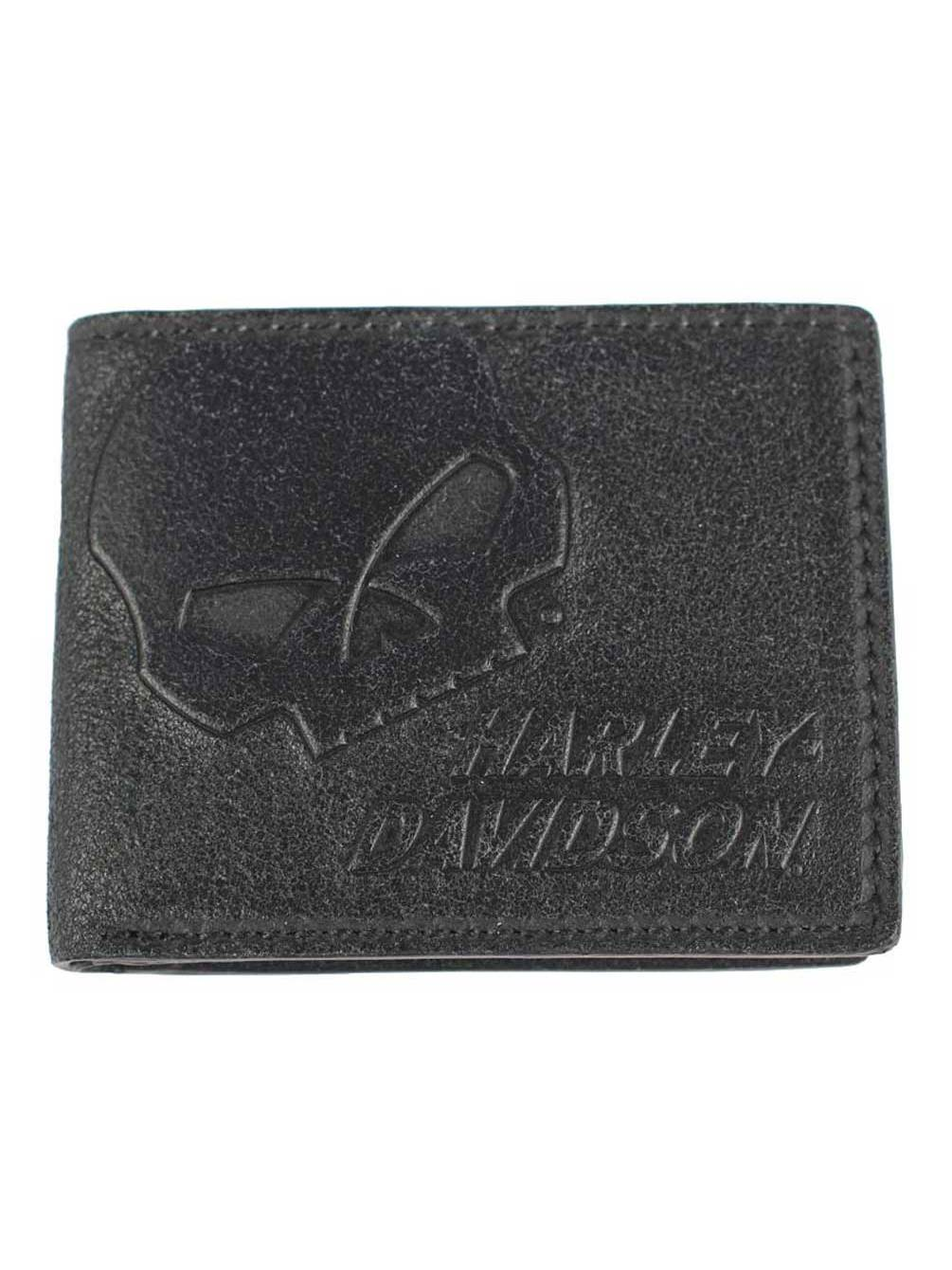 Harley-Davidson Mens Skull Graphite TriFold Medium Leather Wallet UN4618L-GRYBLK