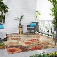 Mohawk Home Printed Indoor/Outdoor Alexa Medallion Multi Printed Area Rug, 10'x14', Tan & Red