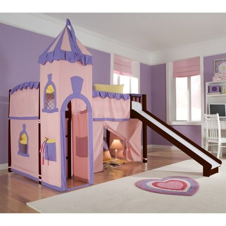 Hillsdale School House Junior Loft Bed With Slide And Castle Tent, Cherry
