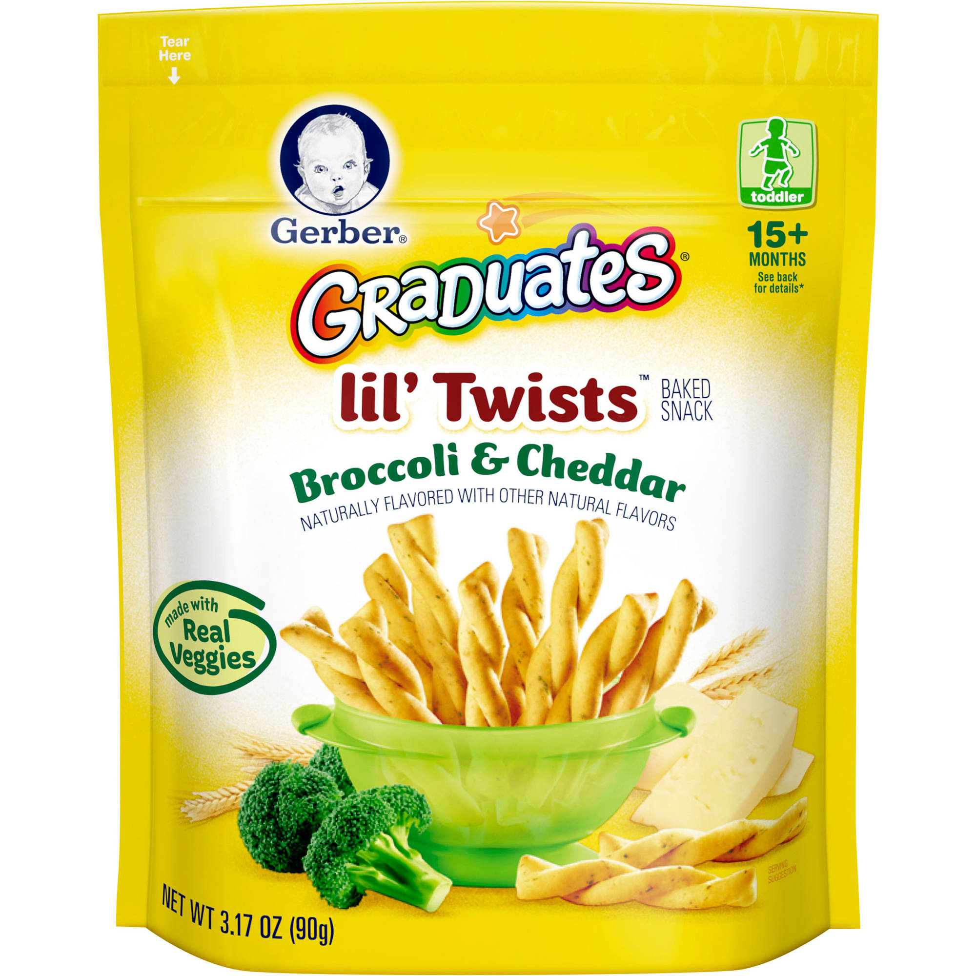 Gerber Graduates Lil' Twists Baked Snack Broccoli & Cheddar, Naturally Flavored with Other Natural Flavors, 3.17 Ounce, 1 Count