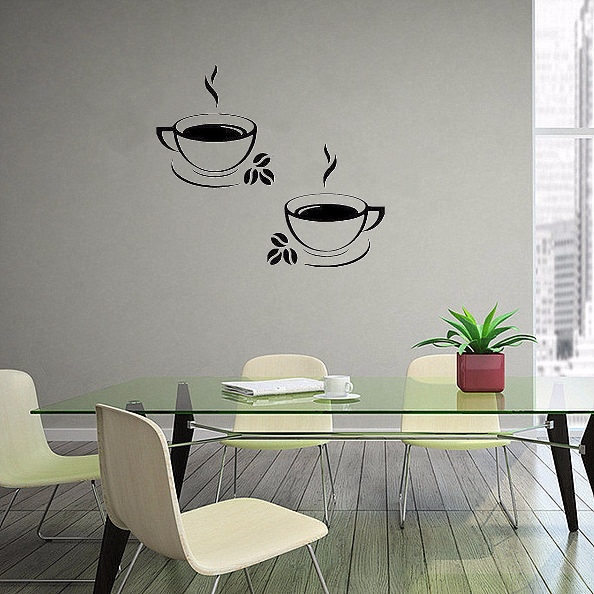 2 Coffee Cups Kitchen Wall Stickers wall decoration Art Vinyl Decal Restaurant Pub Cafe Home Decor Waterproof