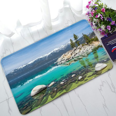 PHFZK Tahoe Beach With Crystal Turquoise Water Doormat, Sierra Nevada Rocks Mountains Lake Trees California Doormat Outdoors/Indoor Doormat Home Floor Mats Rugs Size 30x18 - Express Crystal Lake