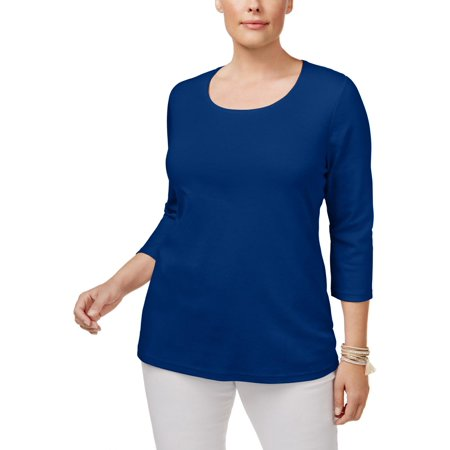 Karen Scott Womens Plus Scoop Neck Basic Pullover (Karen Jewel)