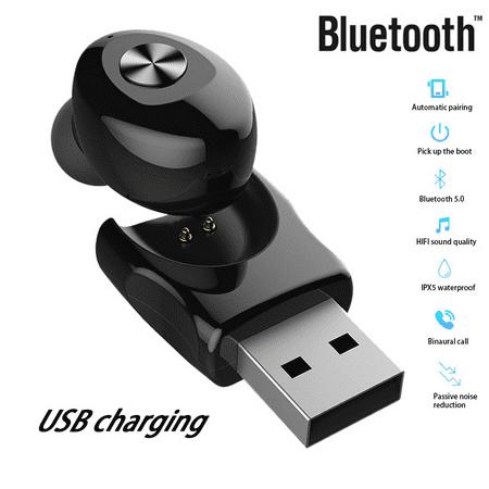 Wireless Bluetooth Stereo Headphone. Bluetooth V5.0 Earbud. Waterproof Sports Headset (Single+USB charging) - image 4 de 13